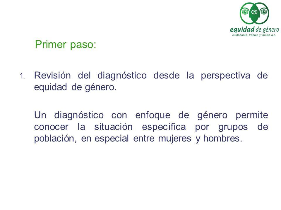 Primer paso: Revisión del diagnóstico desde la perspectiva de equidad de género.