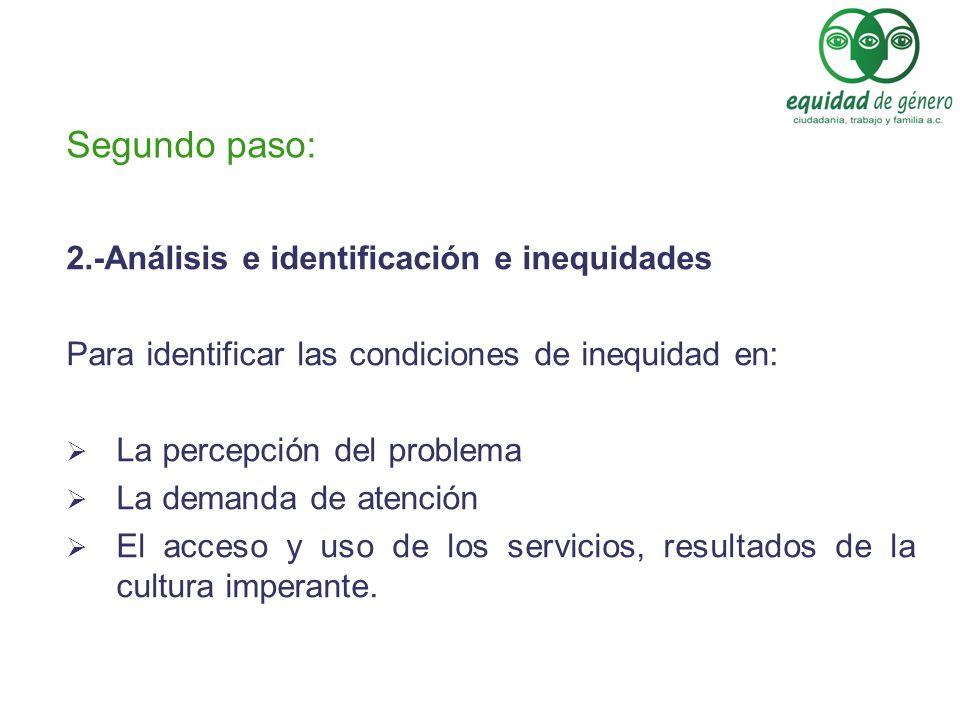 Segundo paso: 2.-Análisis e identificación e inequidades