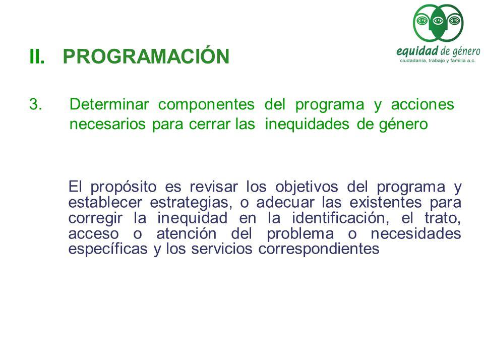 PROGRAMACIÓN Determinar componentes del programa y acciones necesarios para cerrar las inequidades de género.