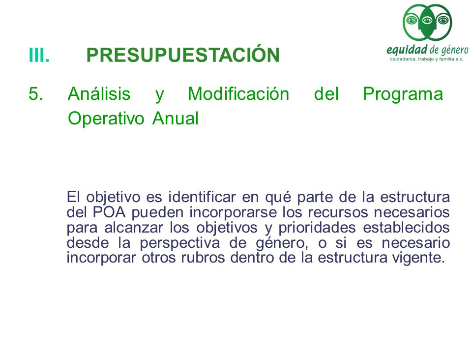 Análisis y Modificación del Programa Operativo Anual