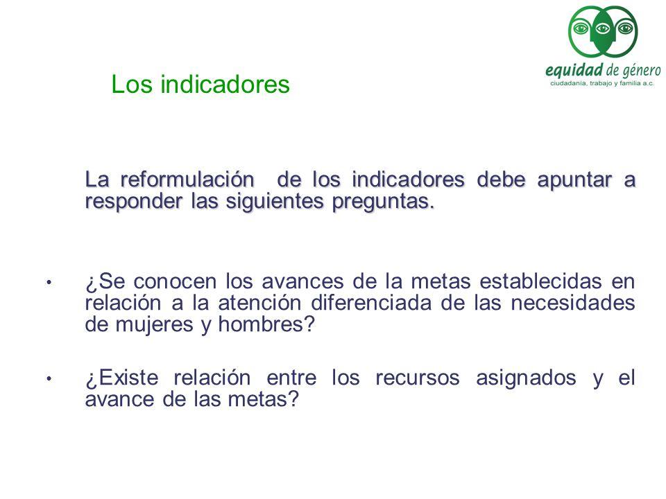 Los indicadores La reformulación de los indicadores debe apuntar a responder las siguientes preguntas.