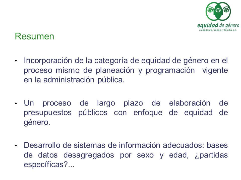 Resumen Incorporación de la categoría de equidad de género en el proceso mismo de planeación y programación vigente en la administración pública.