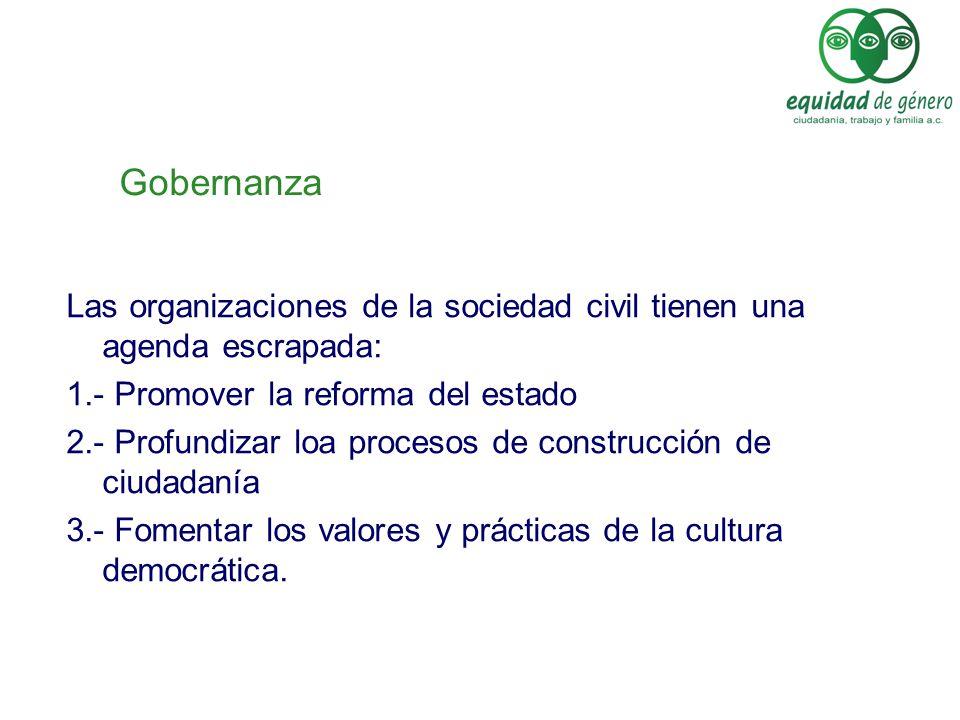 Gobernanza Las organizaciones de la sociedad civil tienen una agenda escrapada: 1.- Promover la reforma del estado.