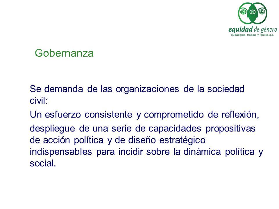 Gobernanza Se demanda de las organizaciones de la sociedad civil: