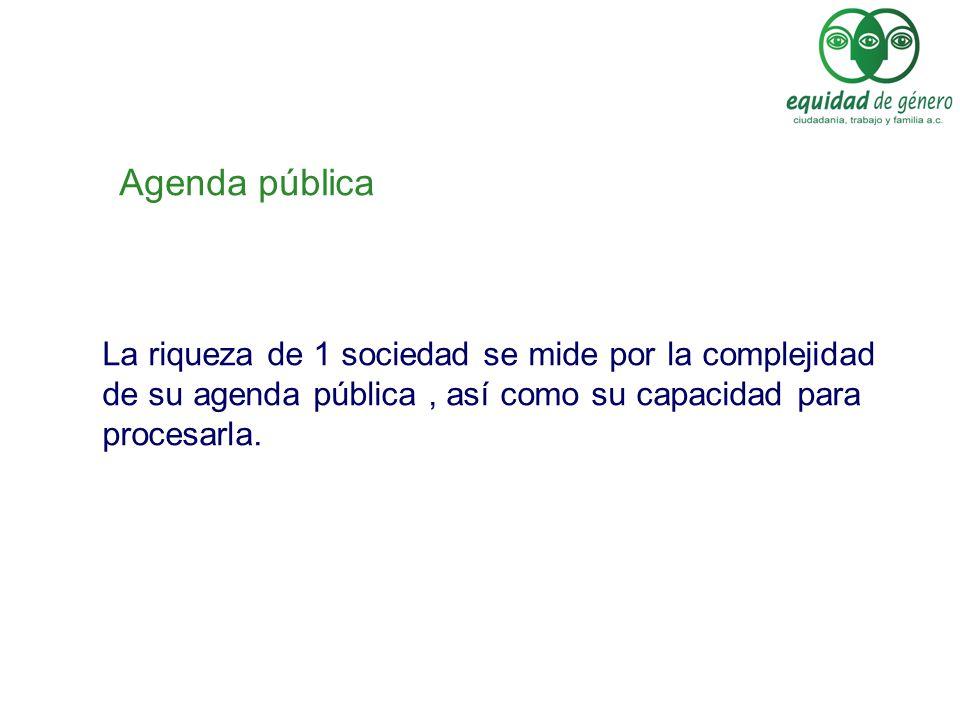 Agenda pública La riqueza de 1 sociedad se mide por la complejidad de su agenda pública , así como su capacidad para procesarla.