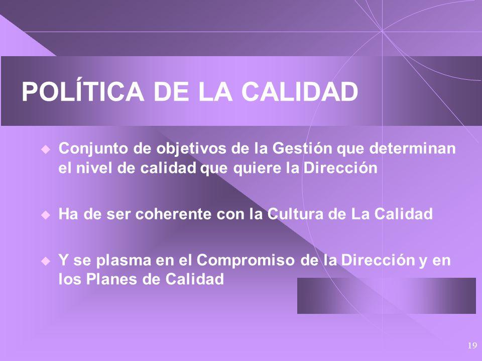POLÍTICA DE LA CALIDADConjunto de objetivos de la Gestión que determinan el nivel de calidad que quiere la Dirección.