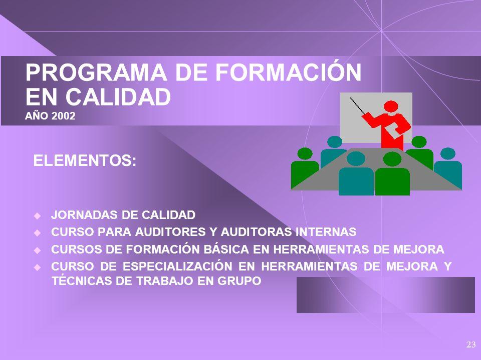 PROGRAMA DE FORMACIÓN EN CALIDAD AÑO 2002