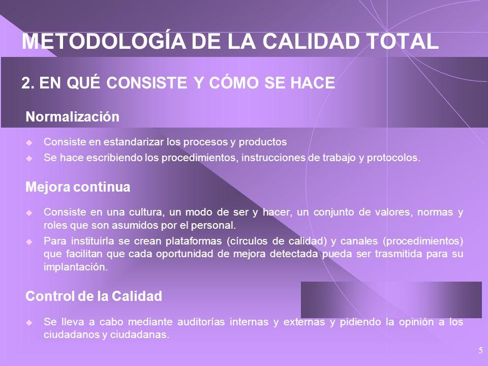 METODOLOGÍA DE LA CALIDAD TOTAL 2. EN QUÉ CONSISTE Y CÓMO SE HACE