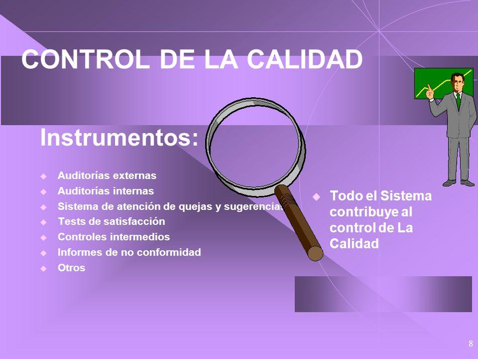 CONTROL DE LA CALIDAD Instrumentos: