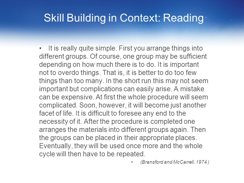 Skill Building in Context: Reading
