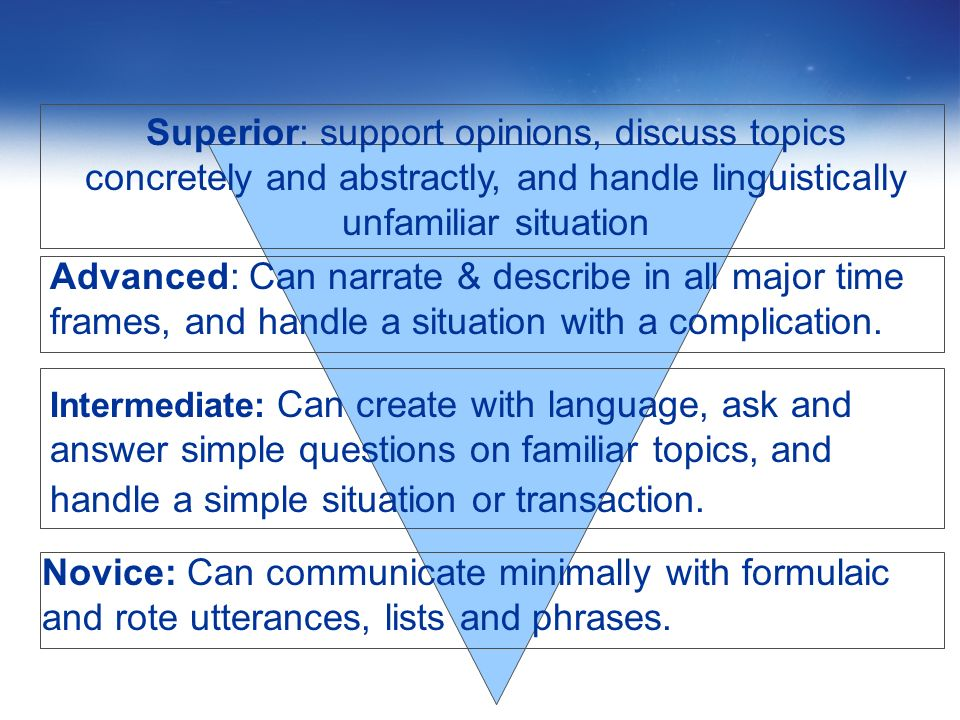 Superior: support opinions, discuss topics concretely and abstractly, and handle linguistically unfamiliar situation