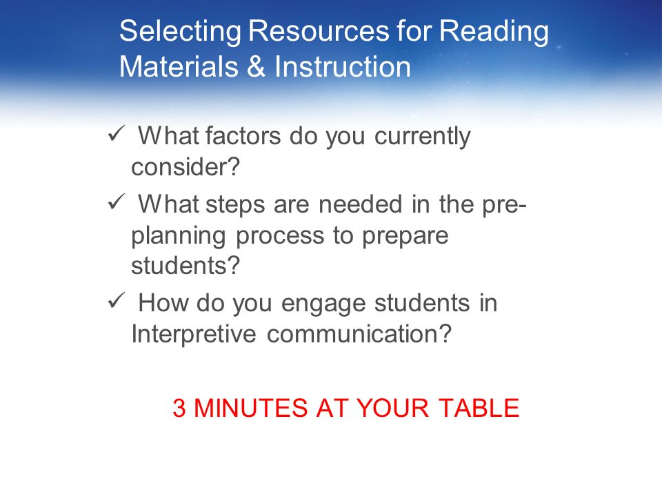 Selecting Resources for Reading Materials & Instruction