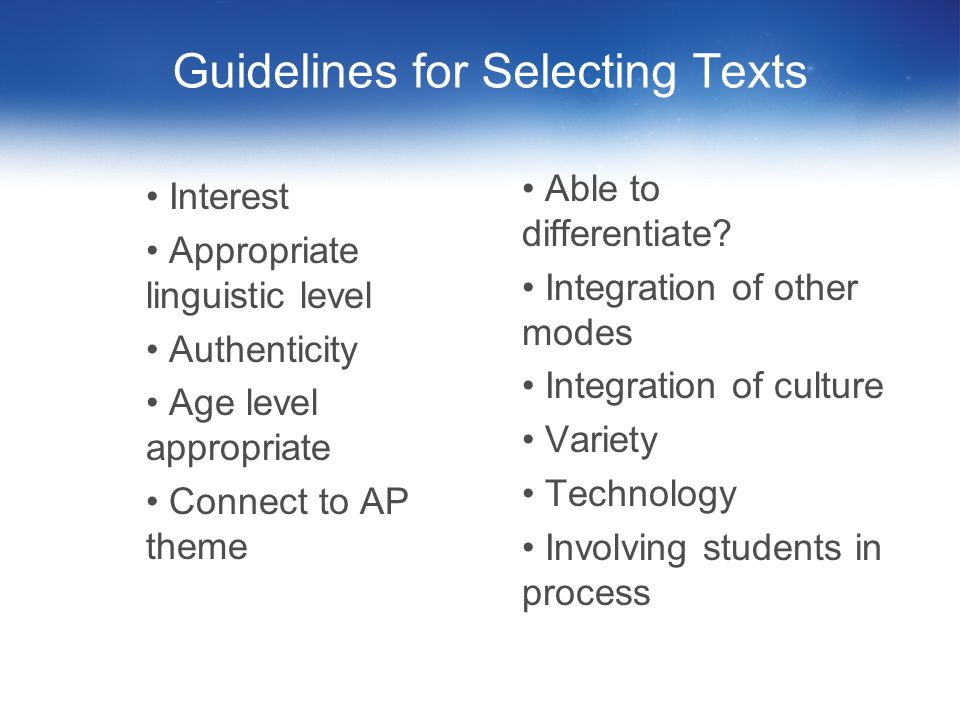 Guidelines for Selecting Texts