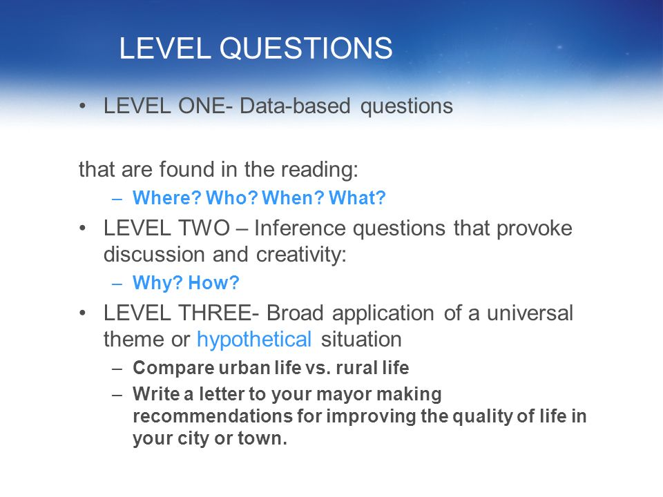 LEVEL QUESTIONS LEVEL ONE- Data-based questions