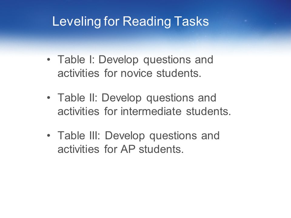 Leveling for Reading Tasks