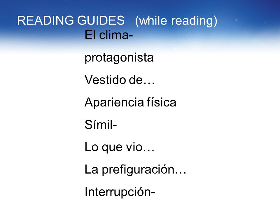 READING GUIDES (while reading)
