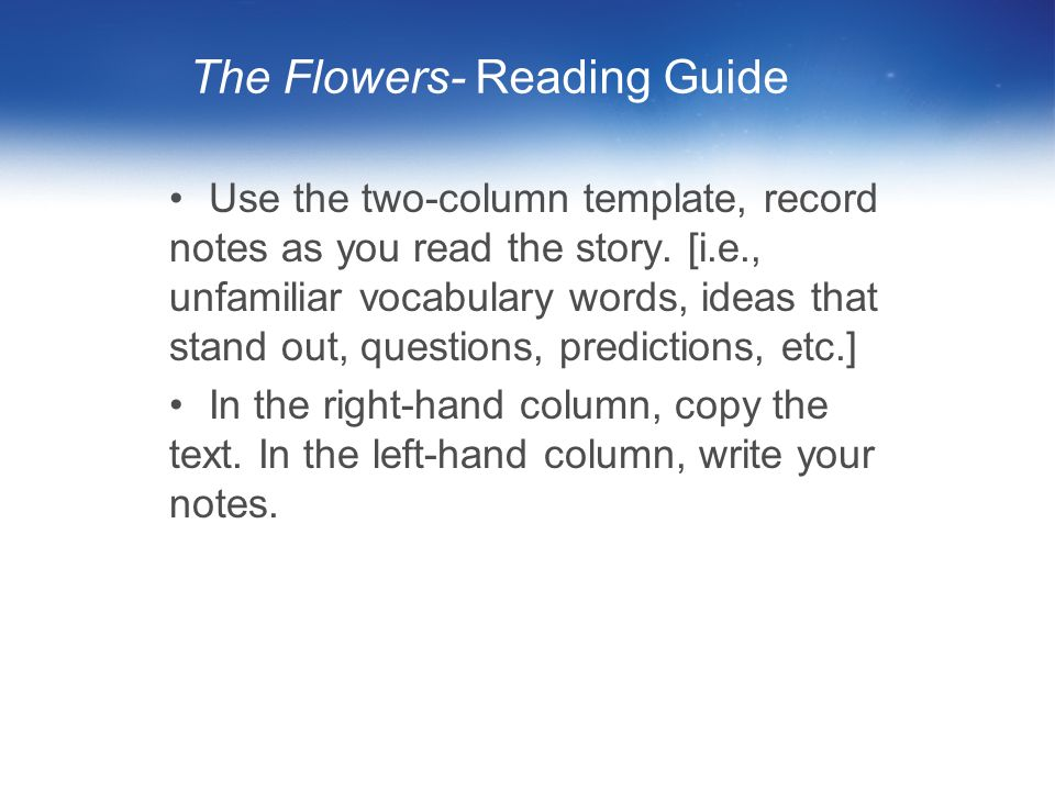 The Flowers- Reading Guide