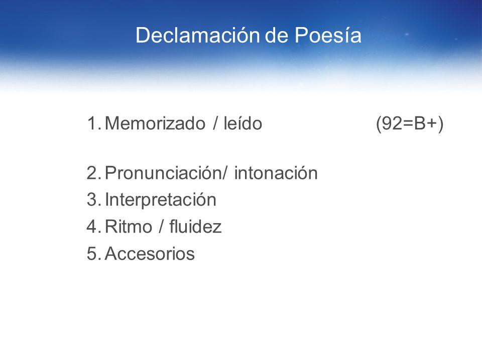 Declamación de Poesía Memorizado / leído (92=B+)