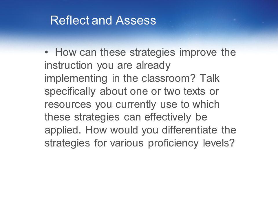 Reflect and Assess