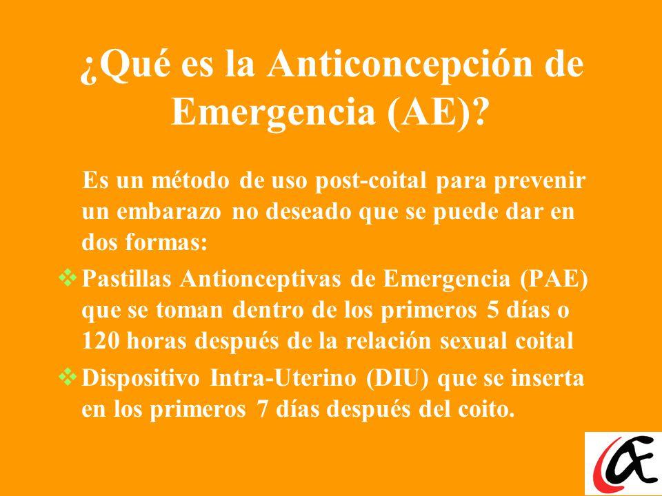 ¿Qué es la Anticoncepción de Emergencia (AE)