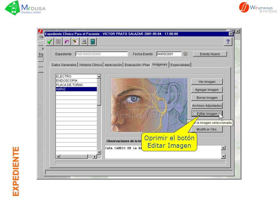 Oprimir el botón Editar Imagen EXPEDIENTE