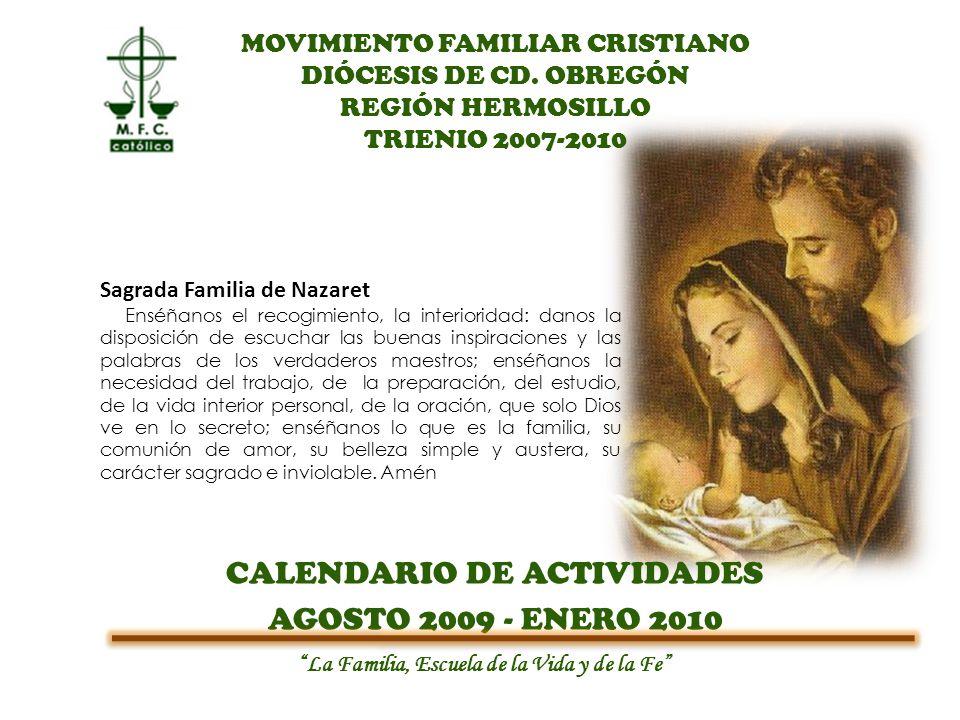 CALENDARIO DE ACTIVIDADES AGOSTO 2009 - ENERO 2010