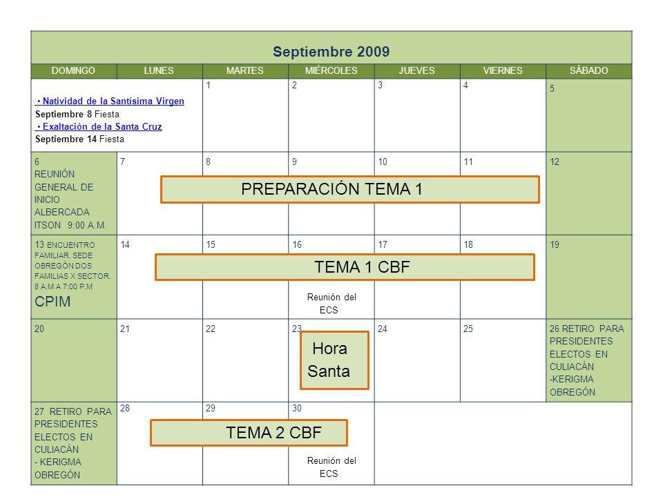 PREPARACIÓN TEMA 1 TEMA 1 CBF Hora Santa TEMA 2 CBF Septiembre 2009