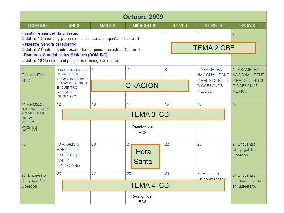 TEMA 2 CBF ORACION TEMA 3 CBF Hora Santa TEMA 4 CBF Octubre 2009 CPIM