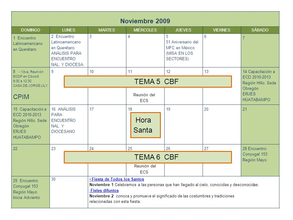 TEMA 5 CBF Hora Santa TEMA 6 CBF Noviembre 2009 CPIM DOMINGO LUNES