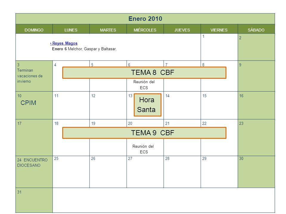 TEMA 8 CBF Hora Santa TEMA 9 CBF Enero 2010 DOMINGO LUNES MARTES