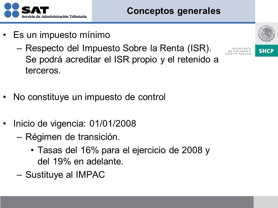 Conceptos generales Es un impuesto mínimo. Respecto del Impuesto Sobre la Renta (ISR). Se podrá acreditar el ISR propio y el retenido a terceros.