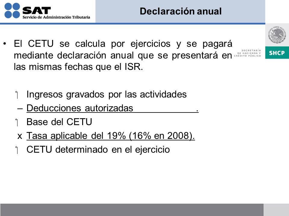 Declaración anual El CETU se calcula por ejercicios y se pagará mediante declaración anual que se presentará en las mismas fechas que el ISR.