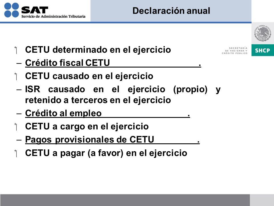 Declaración anual CETU determinado en el ejercicio. Crédito fiscal CETU .