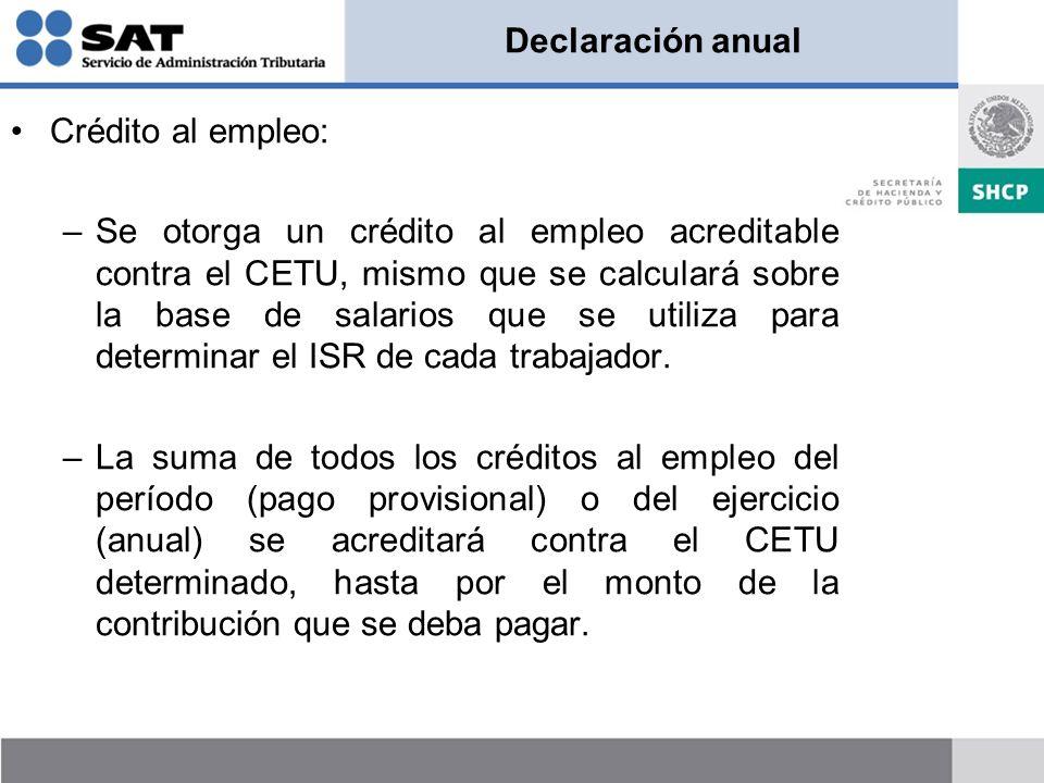 Declaración anual Crédito al empleo: