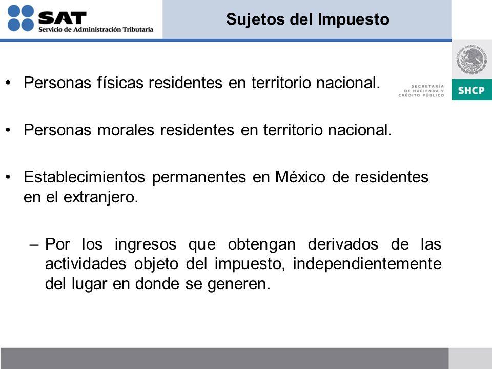 Sujetos del Impuesto Personas físicas residentes en territorio nacional. Personas morales residentes en territorio nacional.