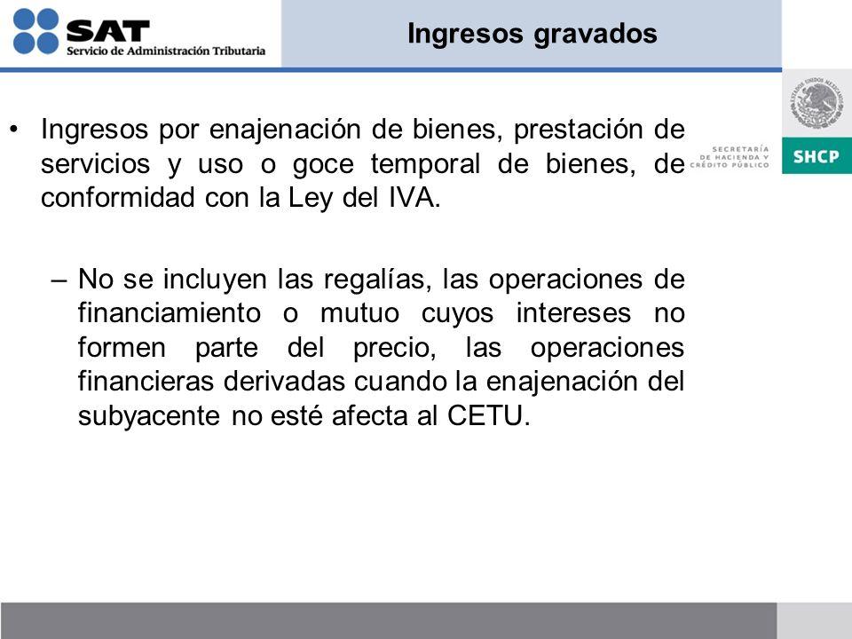Ingresos gravados Ingresos por enajenación de bienes, prestación de servicios y uso o goce temporal de bienes, de conformidad con la Ley del IVA.