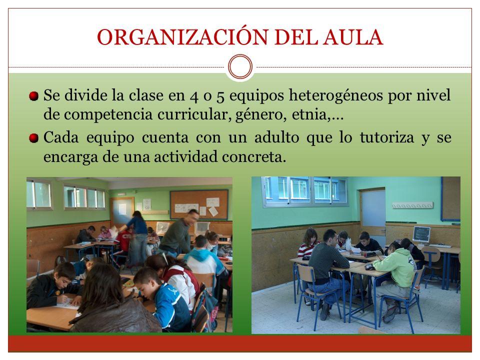 ORGANIZACIÓN DEL AULA Se divide la clase en 4 o 5 equipos heterogéneos por nivel de competencia curricular, género, etnia,…