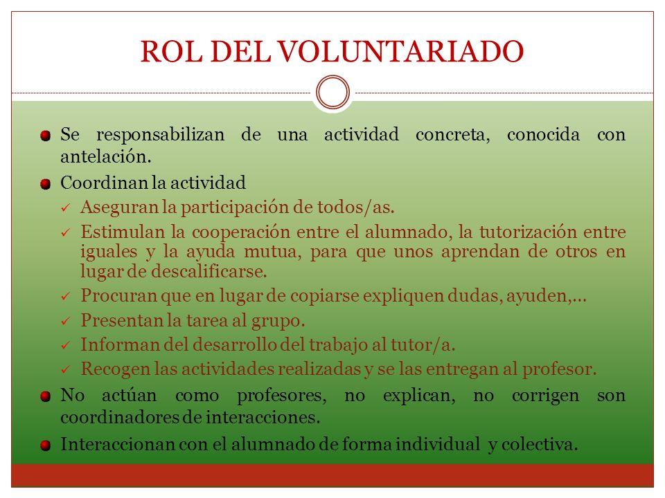 ROL DEL VOLUNTARIADOSe responsabilizan de una actividad concreta, conocida con antelación. Coordinan la actividad.