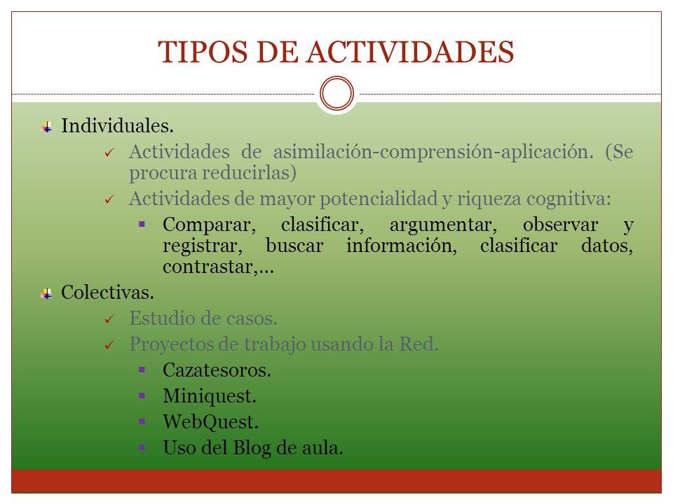 TIPOS DE ACTIVIDADES Individuales.