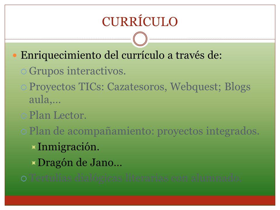 CURRÍCULO Enriquecimiento del currículo a través de: