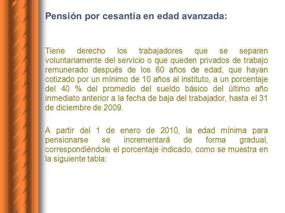 Pensión por cesantía en edad avanzada: