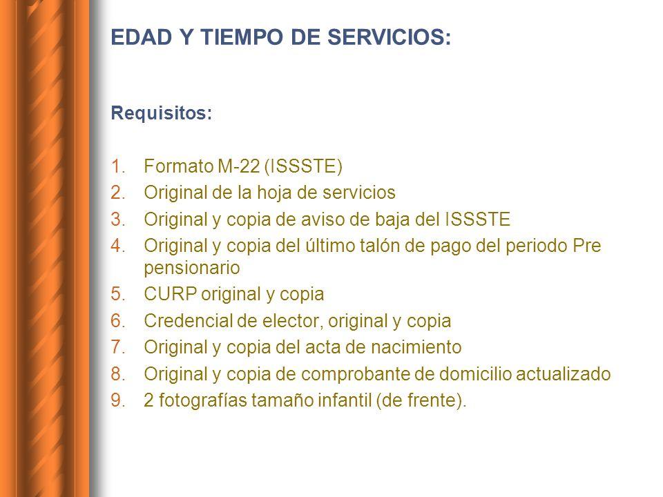 EDAD Y TIEMPO DE SERVICIOS: