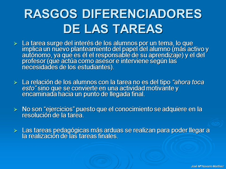 RASGOS DIFERENCIADORES DE LAS TAREAS