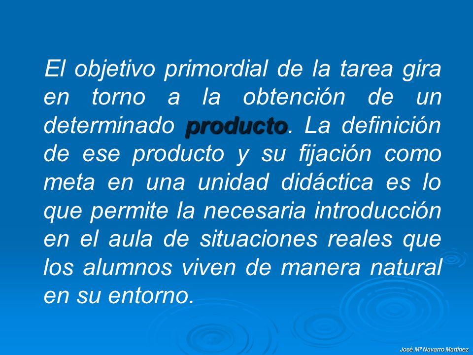 El objetivo primordial de la tarea gira en torno a la obtención de un determinado producto. La definición de ese producto y su fijación como meta en una unidad didáctica es lo que permite la necesaria introducción en el aula de situaciones reales que los alumnos viven de manera natural en su entorno.