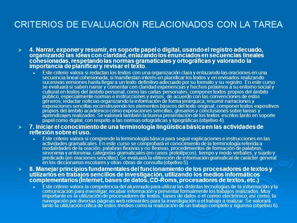 CRITERIOS DE EVALUACIÓN RELACIONADOS CON LA TAREA