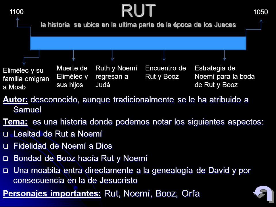 RUT la historia se ubica en la ultima parte de la época de los Jueces