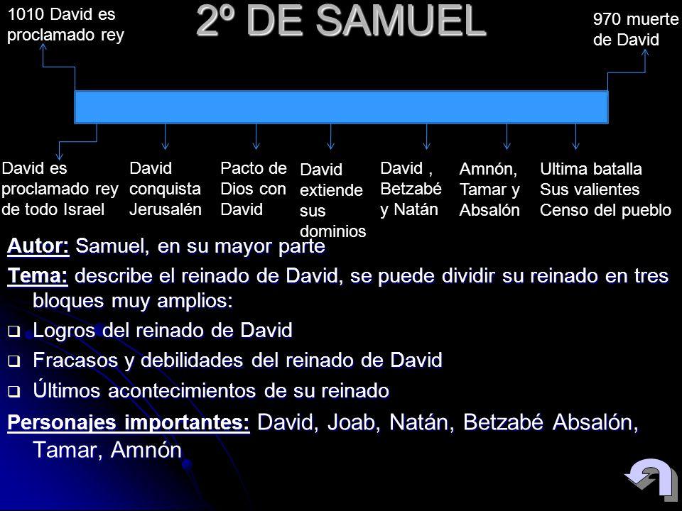 2º DE SAMUEL Autor: Samuel, en su mayor parte