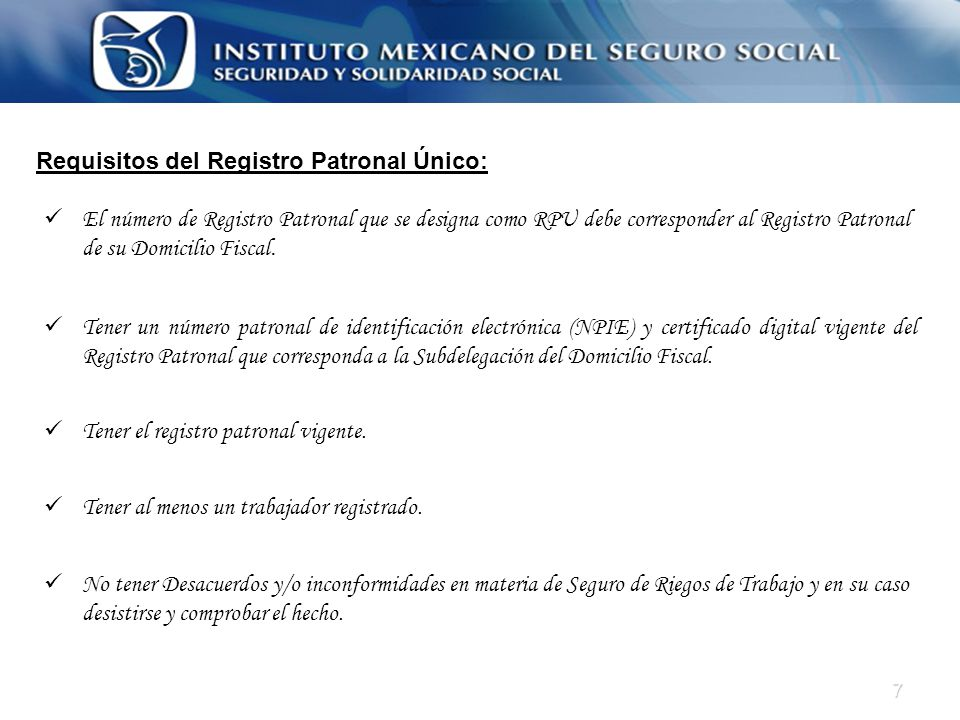 Requisitos del Registro Patronal Único: