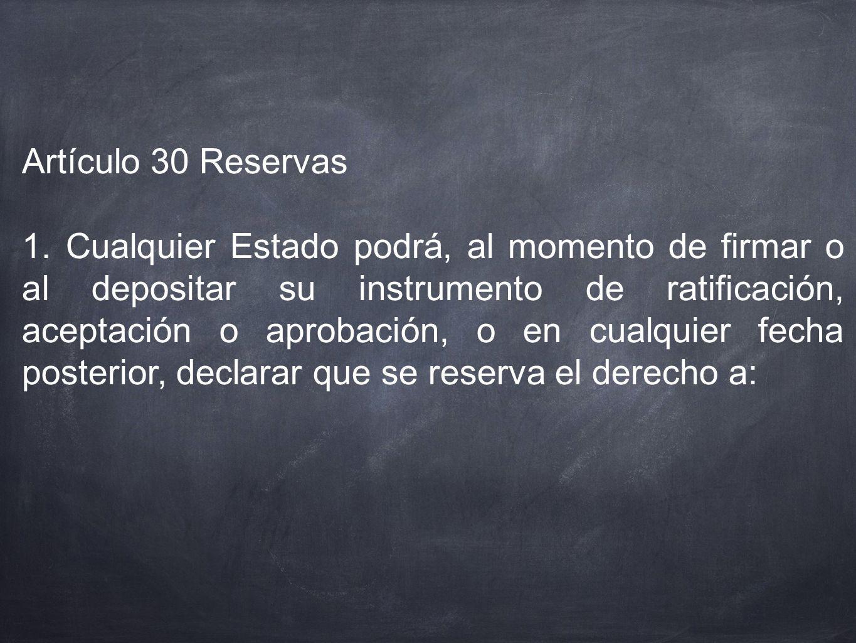 Artículo 30 Reservas