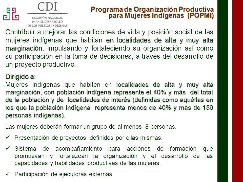 Programa de Organización Productiva para Mujeres Indígenas (POPMI)